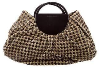 Giorgio Armani Leather-Trimmed Woven Bag