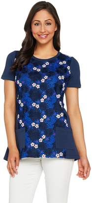 Logo By Lori Goldstein LOGO Lounge by Lori Goldstein Short Sleeve Top with Lace Overlay