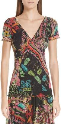 Fuzzi Print Tulle Twist Top