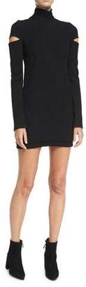 Helmut Lang Turtleneck Slit Long-Sleeve Mini Sweater Dress