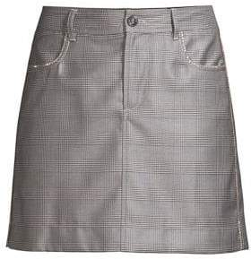 Ganni Silk Wool Suiting Plaid Mini Skirt