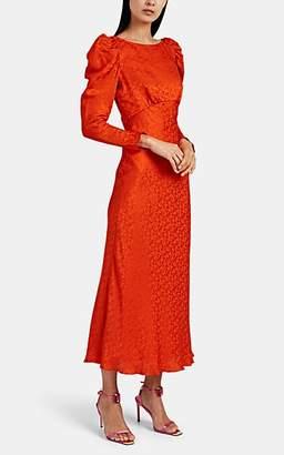 Saloni Women's Alena Silk-Jacquard Midi-Dress - Orange