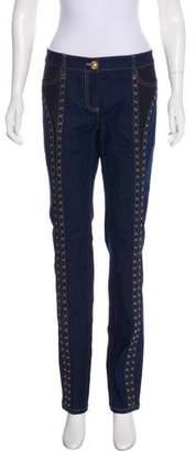 Versace Mid-Rise Grommet Jeans