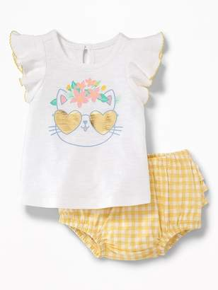 Old Navy Cat-Graphic Tee & Gingham Bloomers Set for Baby