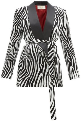 Sara Battaglia Zebra Print Satin Lapel Velvet Blazer - Womens - Black White