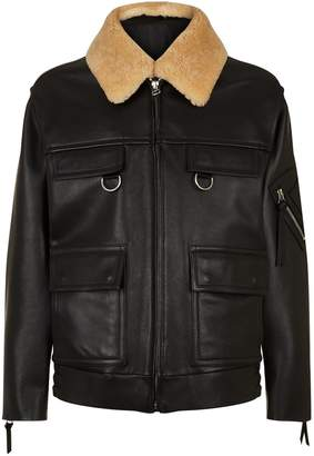 Solid Homme Shearling Collar Leather Jacket