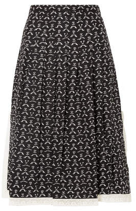 Chloé Lace-trimmed Pleated Printed Washed-silk Midi Skirt - Black