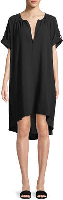 ATM Anthony Thomas Melillo Split-Neck Short-Sleeve Cotton Gauze Short Dress