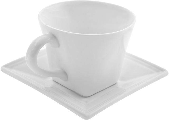 Ten Strawberry Street 10 Strawberry Street Whittier Set of 6 Square Flared Cup/Saucer - White