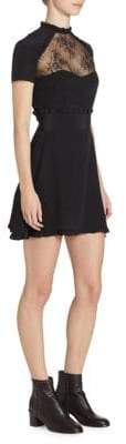 The Kooples Lace-Accented Silk Mini Dress