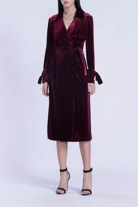Isabel Garcia Velour Long Sleeve Midi Dress