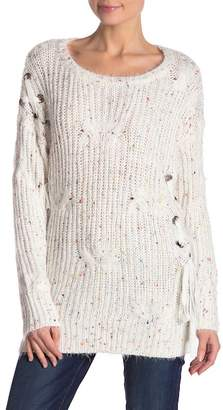 STELLAH Lace Up Speckled Sweater