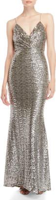Badgley Mischka Surplice Mermaid Sequin Gown