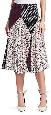 Calvin Klein Women's Mixed Print Silk Midi Skirt