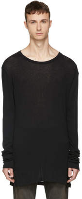 Unravel Black Long Sleeve Rib Elongated T-Shirt