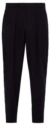 Giorgio Armani Pleat Front Wool Trousers - Mens - Navy