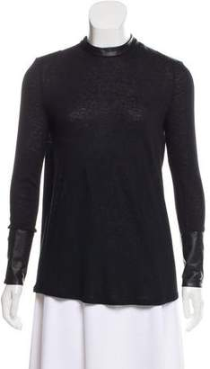 Helmut Lang Leather-Trimmed Long Sleeve Top