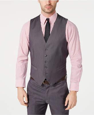 cc3b814272 Perry Ellis Men Portfolio Slim-Fit Stretch Gray Solid Suit Vest