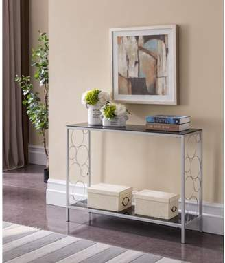 Pilaster Designs Rassy Modern Entryway 2 Tier Storage Console Sofa Side Table (Silver Metal Frame & Black Tempered Glass Top)