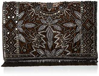 Mary Frances Roaring 20s Antique Pewter Embellished Velvet Crossbody Clutch Handbag