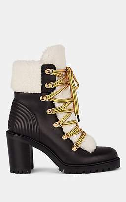 Christian Louboutin Women's Leather & Shearling Lace-Up Ankle Boots - Version Black, Nature