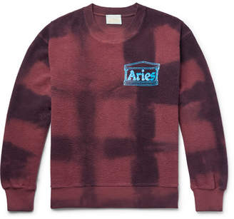 Aries Logo-Print Tie-Dyed Cotton-Terry Sweatshirt - Men - Burgundy