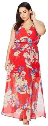 Quiz - Curve Red Floral Oriental Print Dress
