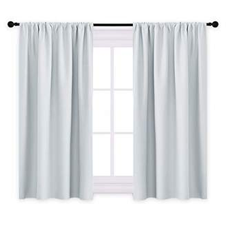 PONY DANCE Curtains and Draperies - Room Darkening Rod Pocket Top Thermal Insulated Noise Reducing Short Curtain Panels for Kitchen Bedroom