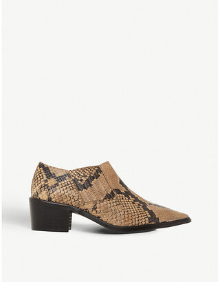 Dune Paavo leather snakeskin-print booties
