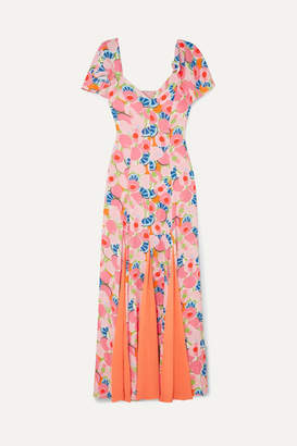 STAUD Baya Pleated Printed Crepe De Chine And Chiffon Maxi Dress - Peach