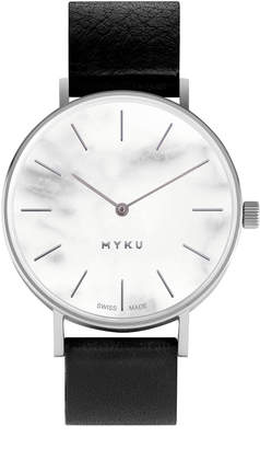 White Marble & Stainless Steel Watch