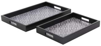 Brimfield & May Modern Rectangular Wooden Trays With Lattice Pattern Accents, 2-Piece Set