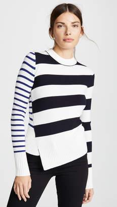 Jason Wu Grey Striped Asymmetrical Sweater