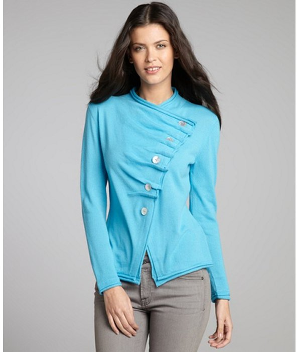 Lafayette 148 New York aqua cashmere knit asymmetrical pleated cardigan