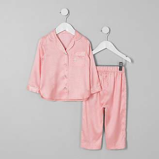 River Island Mini girls Pink jacquard satin pyjama set