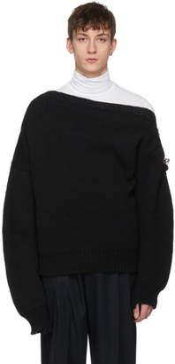 Raf Simons Black Boatneck Buckles Sweater