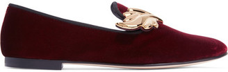 Giuseppe Zanotti - Embellished Velvet Loafers - Burgundy $795 thestylecure.com