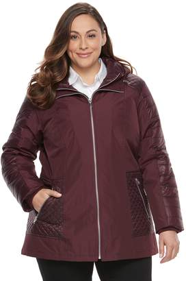 Details Plus Size Mixed-Media Puffer Jacket