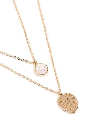 Forever 21 Leaf Pendant Necklace Set