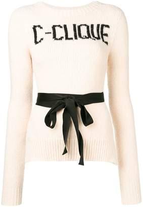 Pinko ribbon belted slogan jumper