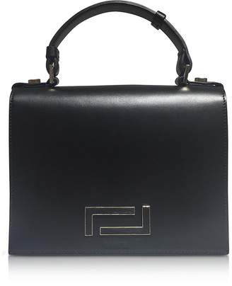 Lancel Pia Black Smooth Leather and Suede Satchel Bag