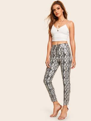 Shein Exposed Zipper Fly Snakeskin Faux Leather Pants