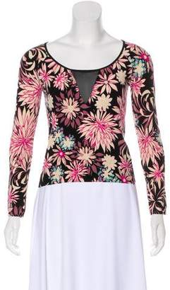 Blumarine Sheer-Accented Floral Sweater