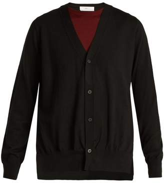 Toga Layered V Neck Wool Cardigan - Womens - Black