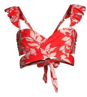 PatBO Leaf-Print Ruffle-Strap Bikini Top