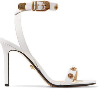Versace Embellished Leather Sandals - White