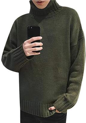 Fulok Mens Winter Loose Turtleneck Knit Loose Pullover Jumper Sweaters 2X-Large