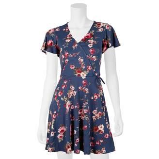 Iz Byer Juniors' Faux-Wrap Short Sleeve Dress