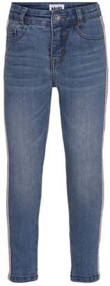 Molo Anastasia Straight-Leg Denim Jeans w/ Contrast Sides, Size 3-14