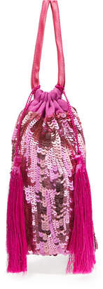 ATTICO Tasseled Sequined Chiffon Pouch - Pink